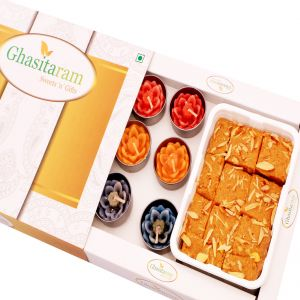 Buy Mithai Hampers - Nani's Special Besan Barfi And Set Of 10 T-lites online