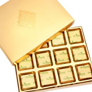 Buy Mothers Day Gifts- Golden 12 PCs Roasted Almond Sugarfree Chocolates Box online