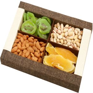 Buy Diwali Dryfruits Hampers - Jute Almonds, Pistachios, Dried Kiwi And Mango Tray online