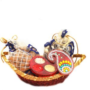 Buy Hampers - Boat Basket With Almonds, Nutties Pouches And Roli Chawal Container online
