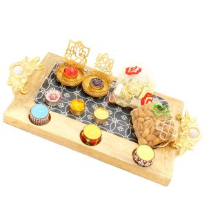 Buy Chocolates Hamper - Big Wooden Serving Platter With Shadow Laxmi Ganesha T-lite, 6 T-lites, Almonds And Chocolates Pouches online