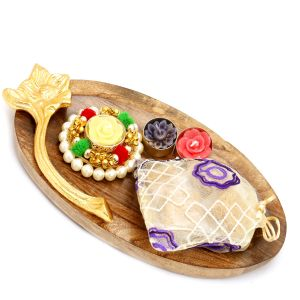 Buy Wooden Pooja Thali/ Platter With Pearl T-lite And Granola Bites Pouch online