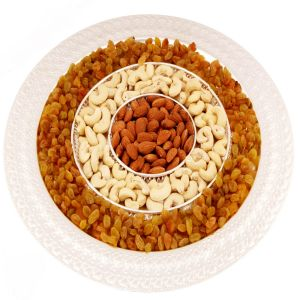 Buy Dryfruits - Silver Round 3 Round Partition Tray online