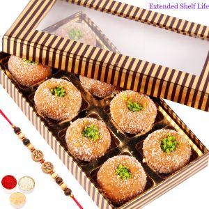 Buy Rakhi N Mithai For Brother Abroad - Gold And Brown Mathura Peda Box With Oval Rudraksh Rakhi online