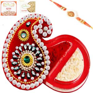 Buy Rakhi Abroad - Tikka Chawal Container With Om Rakhi online
