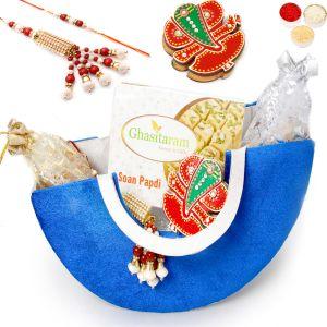 Buy Rakhi Gifts For Brother Rakhi Hampers-blue Moon Basket Hamper Of Soan Papdi, Almonds, Pistachios,tikka Chawal Container And Bhaiya Bhabhi Rakhi online