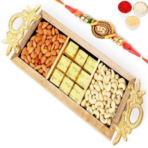 Buy Rakh N Chocolates For Brother Abroad - Golden Handle Wooden Almonds, Cashews, Chocolate Tray With Om Rakhi online