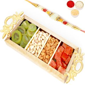 Buy Rakhi Gifts For Brother Rakhi Dryfruits- Golden Handle Wooden Almonds, Pistachios, Kiwi And Papaya Tray With Om Rakhi online