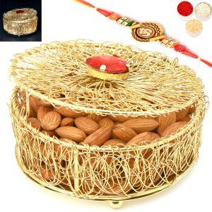 Buy Rakhi Gifts For Brother Rakhi Dryfruits- Golden Mesh Light Almond Box With Om Rakhi online