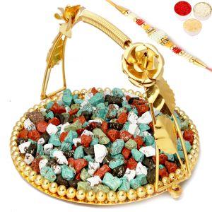 Buy Rakhi Chocolates-golden Metal Stone/rock Chocolate Thali With Pearl Rakhi online