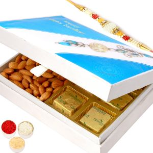Buy Rakh N Chocolates For Brother Abroad - Happy Rakhi Wooden Chocolates And Almonds Box With Pearl Rakhi online