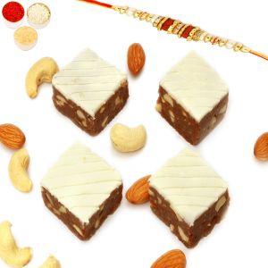 Buy Rakhi Gifts For Brother - Rakhi Sweets- Irish Chocolate Bites 200 Gms With Rudraksh Rakhi online