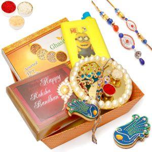 Buy Rakhi Gifts For Brother -orange Basket Rakhi Hamper Of Dryfruit Box, Chocolate Box, Kids Bottle, Pooja Thali, Tikka Chawal And Bhaiya Bhabhi Rakhi online