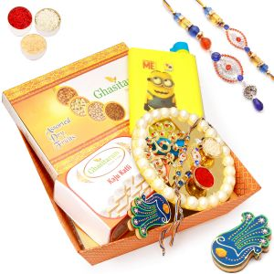 Buy Send Rakhi Hampers To Usa-orange Basket Hamper Of Dryfruit Box, Kaju Katli, Kids Bottle, Pooja Thali, Tikka Chawal Container And Bhaiya Bhabhi Rakhi online