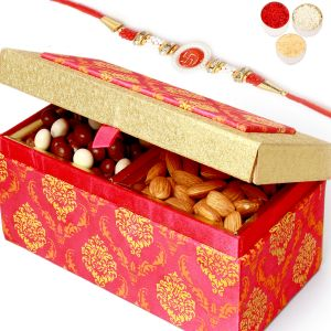 Buy Rakh N Dryfruits For Brother Abroad - Pink Double Nutties And Almonds Box With Om Swastik Rakhi online