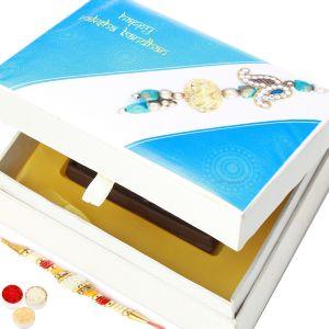 Buy Rakhi Gifts For Brother Rakhi Sugarfree Chocolates - Happy Rakhi Wooden Sugafree Chocolate Bar Box With Pearl Rakhi online