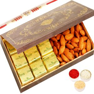Buy Rakhi Dryfruit Hampers - Wooden 9 PCs Chocolate And Almonds Box With Red Pearl Rakhi online