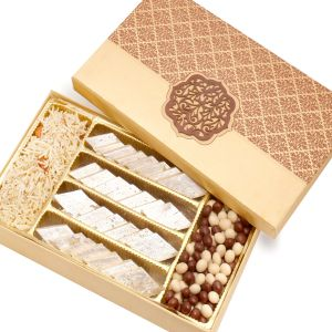 Buy Diwali Hampers - Red Satin Hamper Box With Kaju Katli, Nutties And Namkeen online