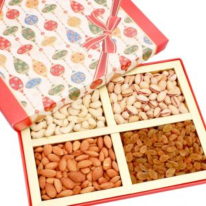 Buy Dryfruits - Red Square 4 Part Dryfruit Box online