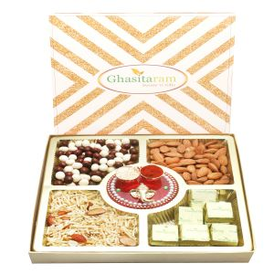 Buy Bhaidooj Gifts -ghasitaram Special Almonds, Namkeen, Nutties And Chocolate Box With Mini Pooja Thali online