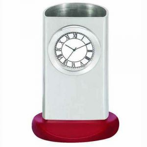 Buy Desktop Clocks-silver Pen Holder Cum Clock - 265 online