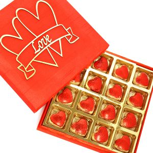 Buy Chocolate-red Valentines Box With Glitter Heart Chocolates online