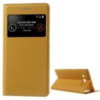 Buy Yellow S View Stand Leather Battery Housing For Samsung Galaxy Grand 2 Duos online