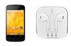Buy Hi Definition Stereo Earphones With Mic For LG Google Nexus 4 E960 online