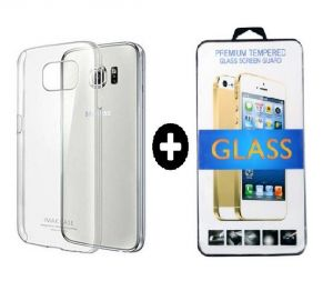 Buy Back Cover For Samsung Galaxy S6 (transparent)with Tempered Glass-free Screen Guard online