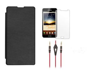 Buy Xolo Q1100 Flip Cover (black) Plus Screen Guard Plus 3.5mm Aux Cable With Mic online