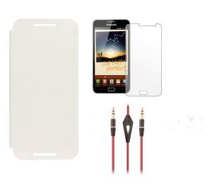 Buy Samsung Galaxy Note 1 N7000 Flip Cover (white) Plus Screen Guard Plus 3.5mm Aux Cable With Mic online