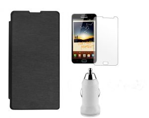 Buy Micromax Canvas Doodle 3 A102 Flip Cover (black) Plus Screen Guard Plus USB Car Adaptor online