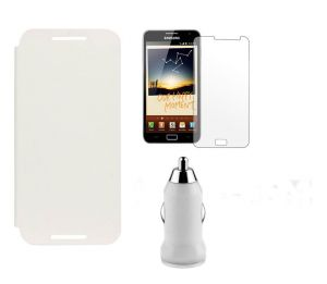 Buy Lenovo Ideaphone A328 Flip Cover (white) Plus Screen Guard Plus USB Car Adaptor online