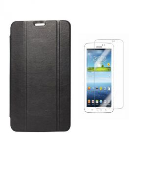 Buy Premium 3 Fold Black Flip Cover For Samsung Galaxy Tab 3 7.0 P3200/p3210 With Ultra HD Screen Guard online