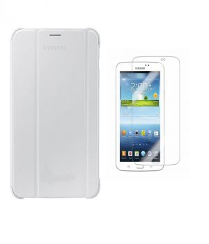Buy Premium 3 Fold White Flip Cover For Samsung Galaxy Tab 3 7.0 P3200/p3210 With Ultra HD Screen Guard online