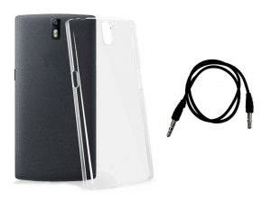 Buy 0.33mm Soft Transparent Back Cover For Apple iPhone 6 Plus And 3.5mm Aux Cable Combo online