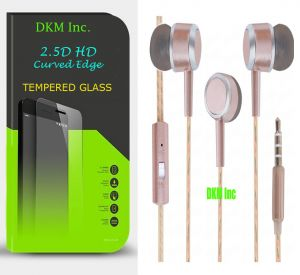 Buy Snaptic 2.5d Curved EDGE HD Tempered Glass And Scented Rose Gold Earphones With Mic For Apple iPhone 7 online