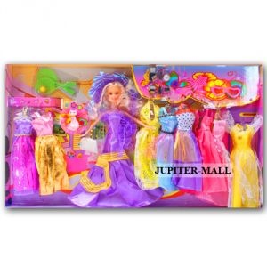 Buy Barbie Doll Set With Beautiful Trendy Dresses Kids Toys Toy Baby Gift -84 online