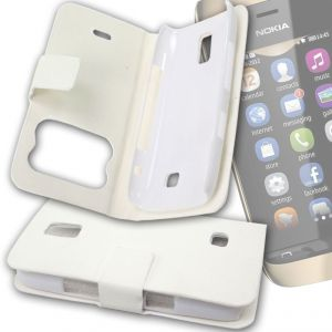 pretty nice 40a88 18796 White Leather Back Case Cover Skin Flip Pouch For Nokia Asha 308 -fn02