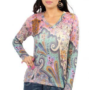 Casa Pashma Floral Print Women's V-neck T-Shirt