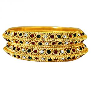 Buy Surat Diamond A Pair Of Heavy Looking Gold Plated Rajasthani Patla For Engagement Wedding Bgp70 online