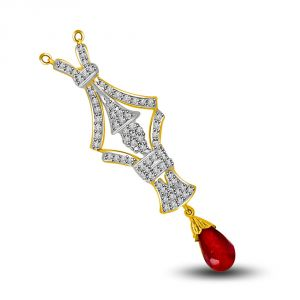 Buy Surat Diamond Brings You Good Luck Diamond & Ruby Gold Pendant online