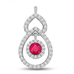 Buy Surat Diamond Drop Shaped Diamond Pendant With A Red Round Ruby P1092 online