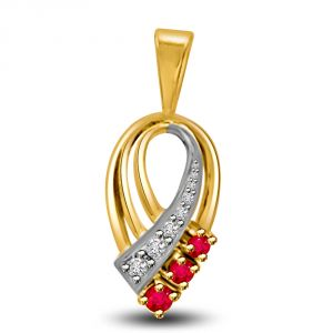 Buy Surat Diamond Beautiful Two Tone Gold Pendant Of Diamonds And Rubies P1121 online