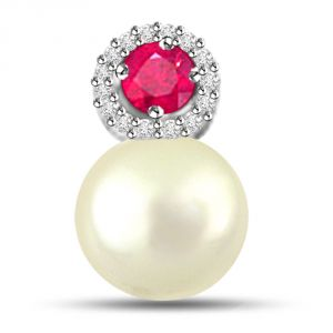 Buy Surat Diamond Marvelous Pearl Pendant With Diamonds And Ruby P1122 online