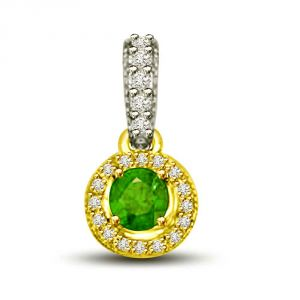 Buy Surat Diamond Shining Princess 0.80 Tcw Two Tone Pendant Of Emeralds And Diamonds P1155 online