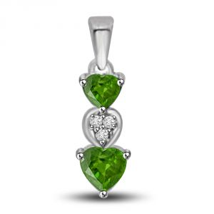 Buy Surat Diamond Emerald Coverleaf 0.445 Tcw Heart Shaped Emerald And Diamond Pendant P1161 online