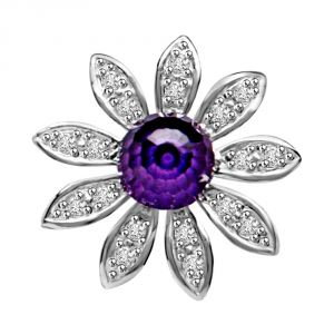 Buy Surat Diamond Blue Floral Twinkle Amethyse & Diamond Flower Beautiful Passionate Diamond Pendant P1342 online