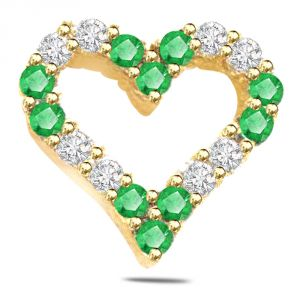 Buy Surat Diamond 0.20ct Diamond & Emerald Heart Shape Pendant P550 online