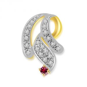 Buy Surat Diamond Twisted Curls - 0.33 Cts Diamond & Ruby Two Tone 18k Pendant P634 online
